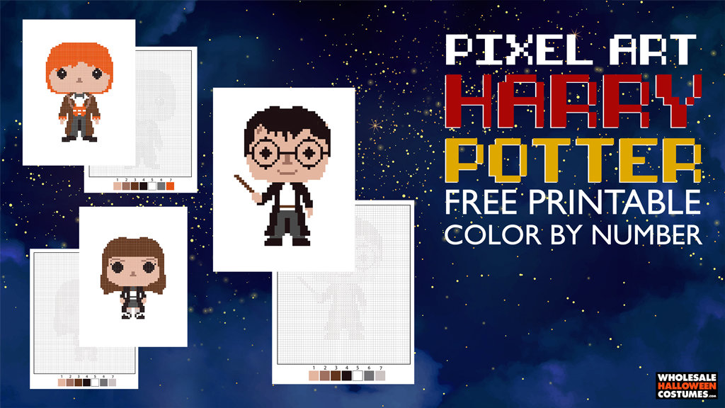 Harry Potter Pixelated Coloring Pages