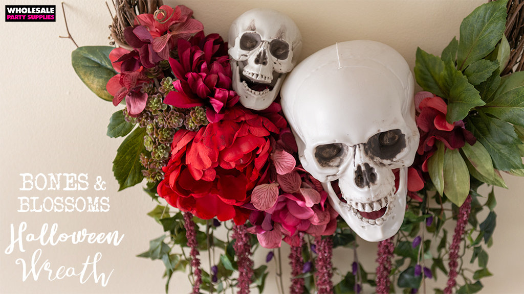 Bones and Blossoms Day of the Dead Wreath