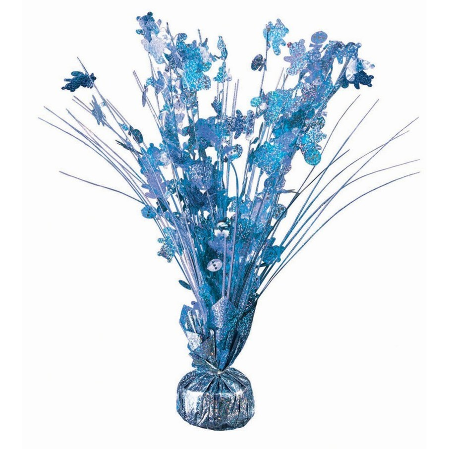 """View larger image of 15"""" Baby Shower Light Blue Holographic Balloon Weight Centerpiece"""