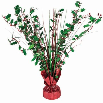 "15"" Green & Red Holographic Holly Berry Balloon Weight Centerpiece"