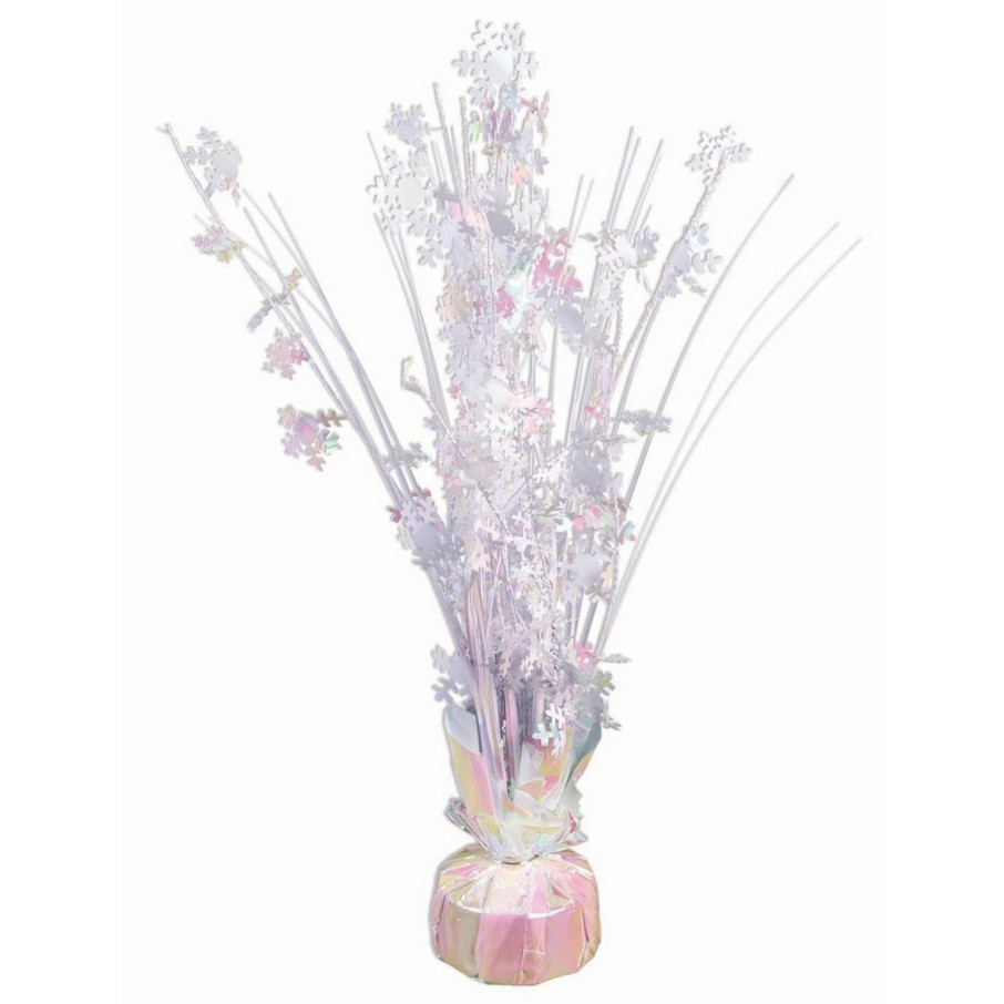 """View larger image of 15"""" Iridescent White Snowflake Balloon Weight Centerpiece"""