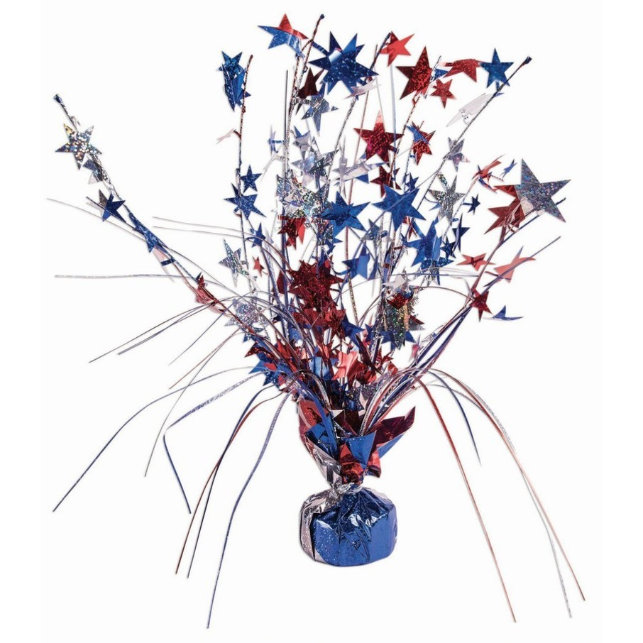 """View larger image of 15"""" Red Blue & Silver Holographic Star Balloon Weight Centerpiece"""