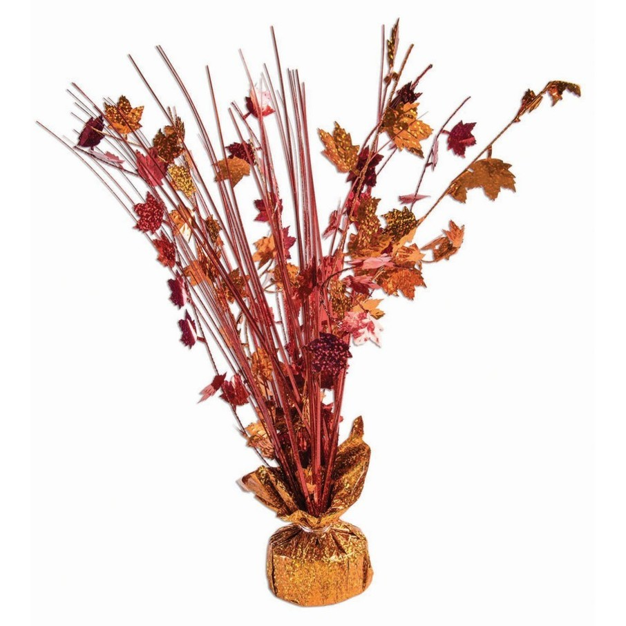 "View larger image of 15"" Red & Orange Holographic Fall Harvest Leaves Balloon Weight Centerpiece"