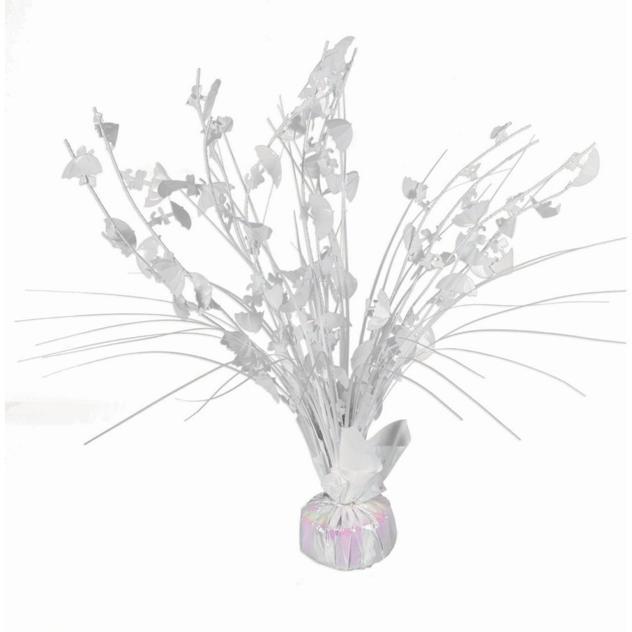 "View larger image of 15"" White Iridescent Umbrella Shower Balloon Weight Centerpiece"