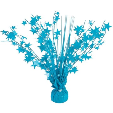 "15"" Starburst Bright Neon Turquoise Balloon Weight Centerpiece"