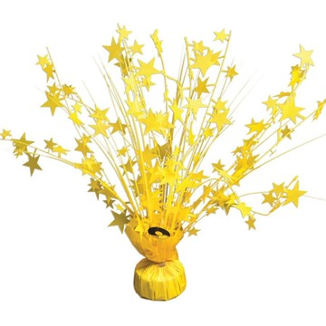"15"" Starburst Bright Neon Yellow Balloon Weight Centerpiece"