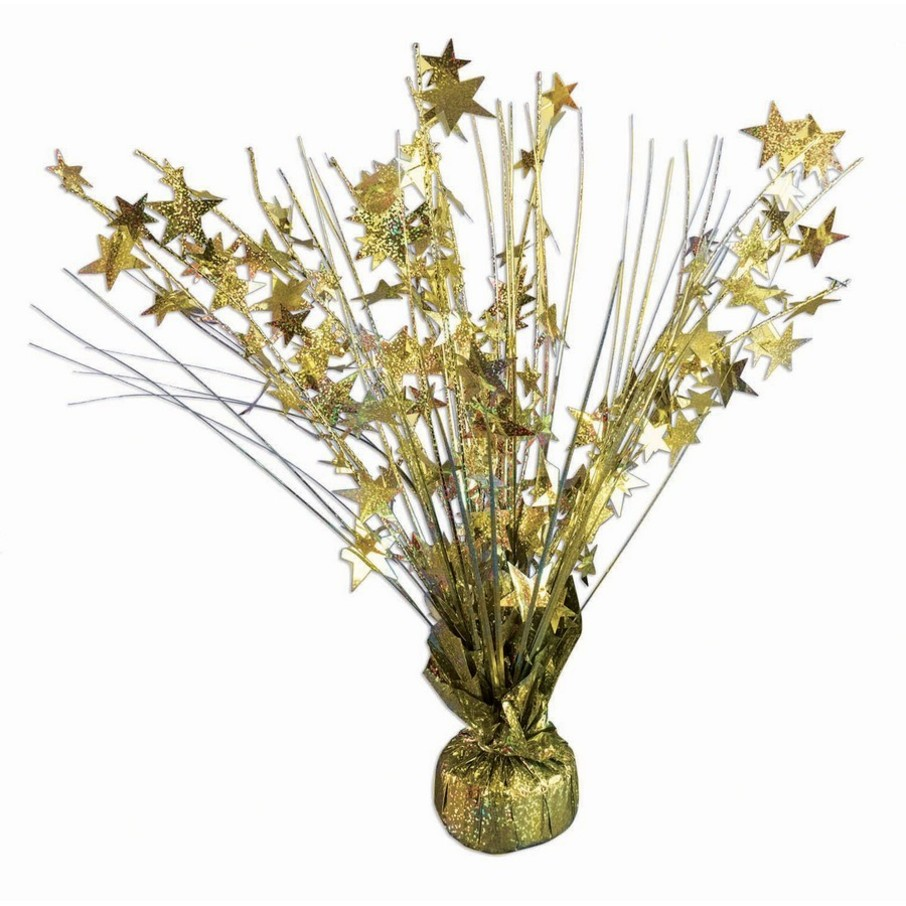 """View larger image of 15"""" Starburst Gold Holographic Balloon Weight Centerpiece"""