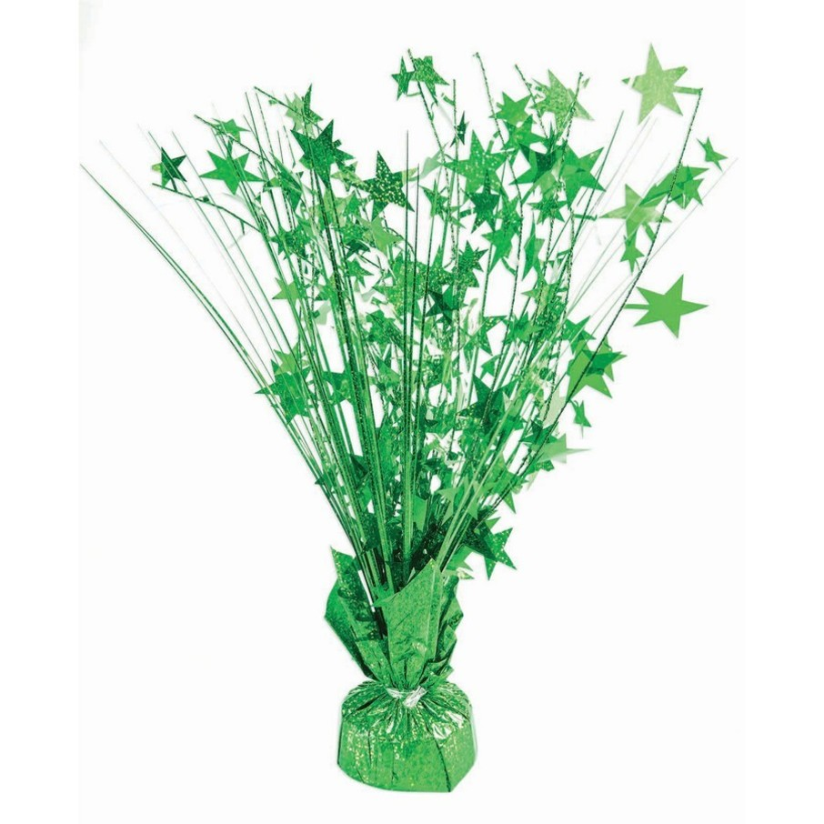 "View larger image of 15"" Starburst Green Holographic Balloon Weight Centerpiece"