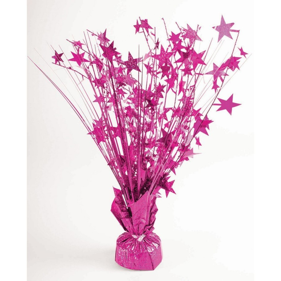 """View larger image of 15"""" Starburst Hot Pink Holographic Balloon Weight Centerpiece"""