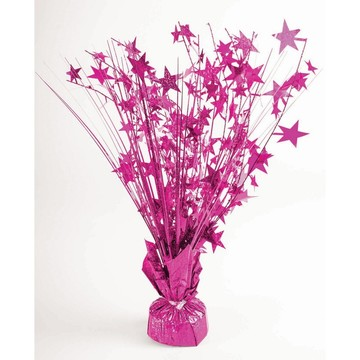 "15"" Starburst Hot Pink Holographic Balloon Weight Centerpiece"