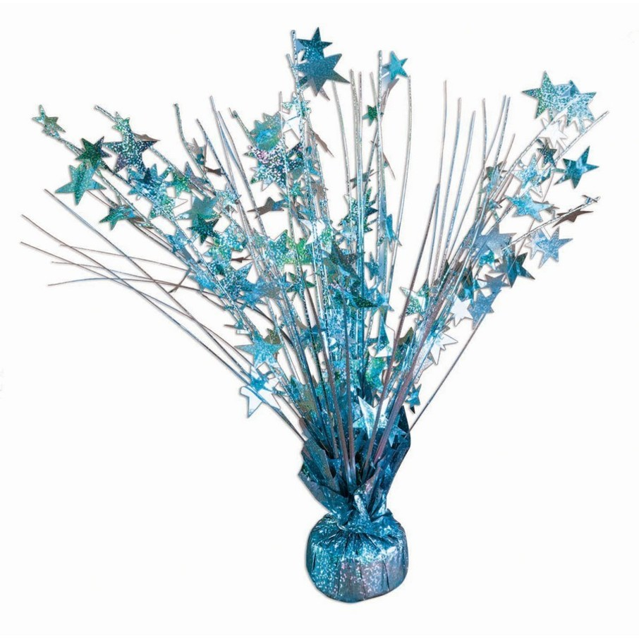 """View larger image of 15"""" Starburst Light Blue Holographic Balloon Weight Centerpiece"""