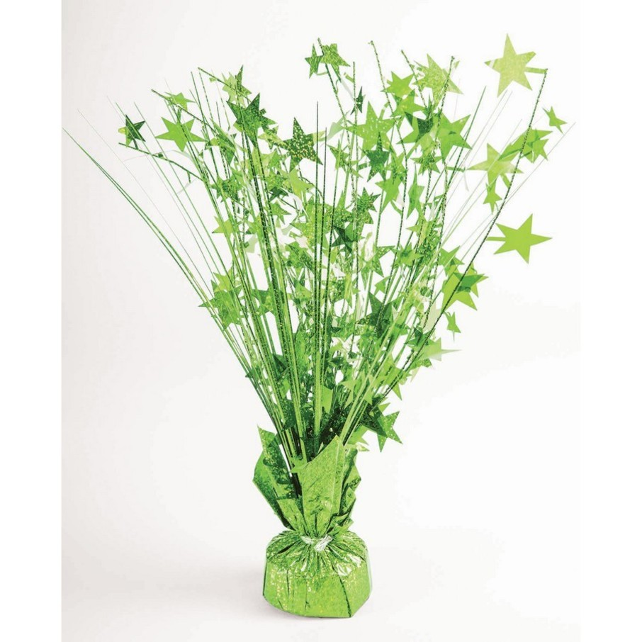 "View larger image of 15"" Starburst Lime Green Holographic Balloon Weight Centerpiece"