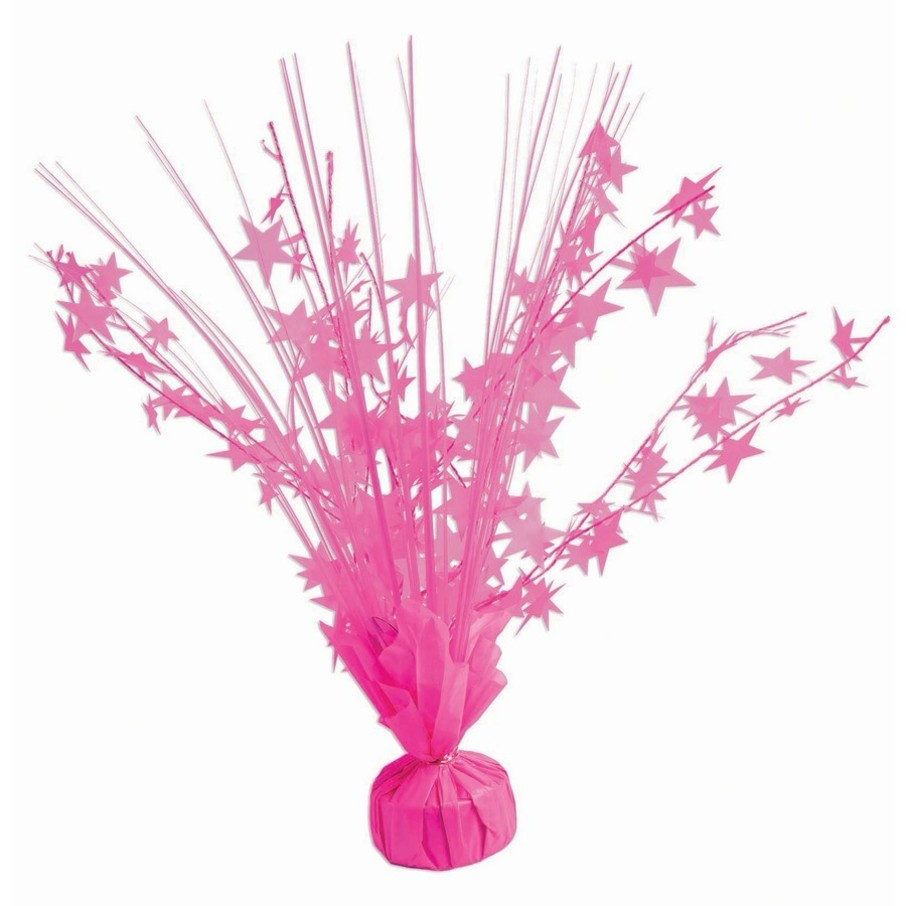 "View larger image of 15"" Starburst Neon Candy Pink Balloon Weight Centerpiece"