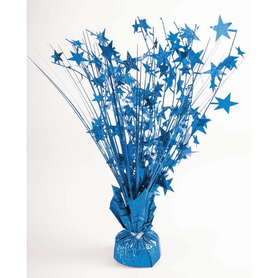"View larger image of 15"" Starburst Peacock Blue Holographic Balloon Weight Centerpiece"