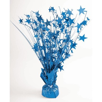 "15"" Starburst Peacock Blue Holographic Balloon Weight Centerpiece"