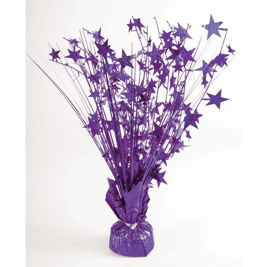 "View larger image of 15"" Starburst Purple Holographic Balloon Weight Centerpiece"