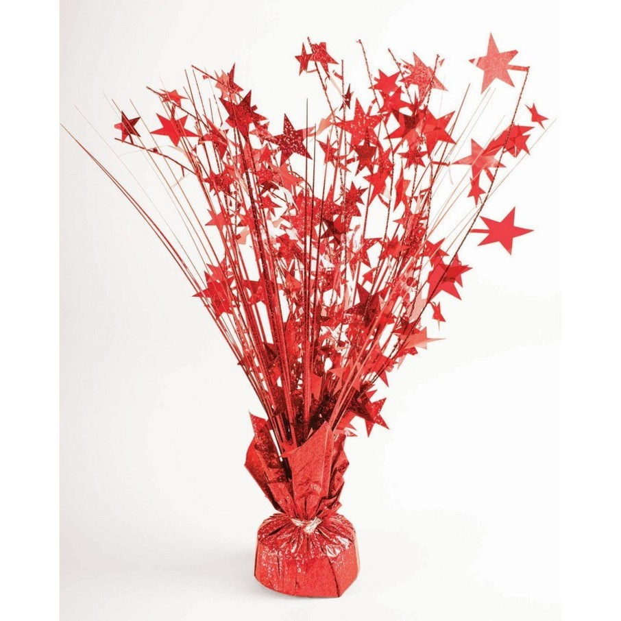 "View larger image of 15"" Starburst Red Holographic Balloon Weight Centerpiece"