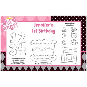 1st Birthday Angel Personalized Activity Mats (8-Pack)