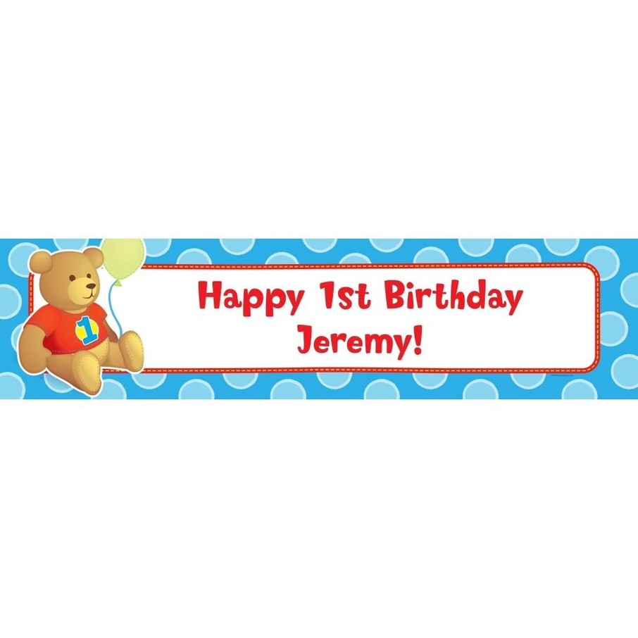 View larger image of 1st Birthday Bear Boy Personalized Banner (Each)