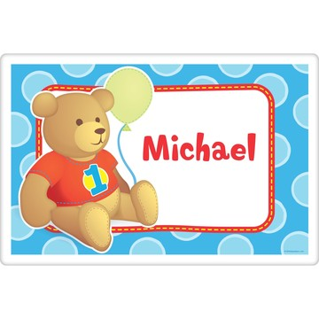 1st Birthday Bear Boy Personalized Placemat (each)