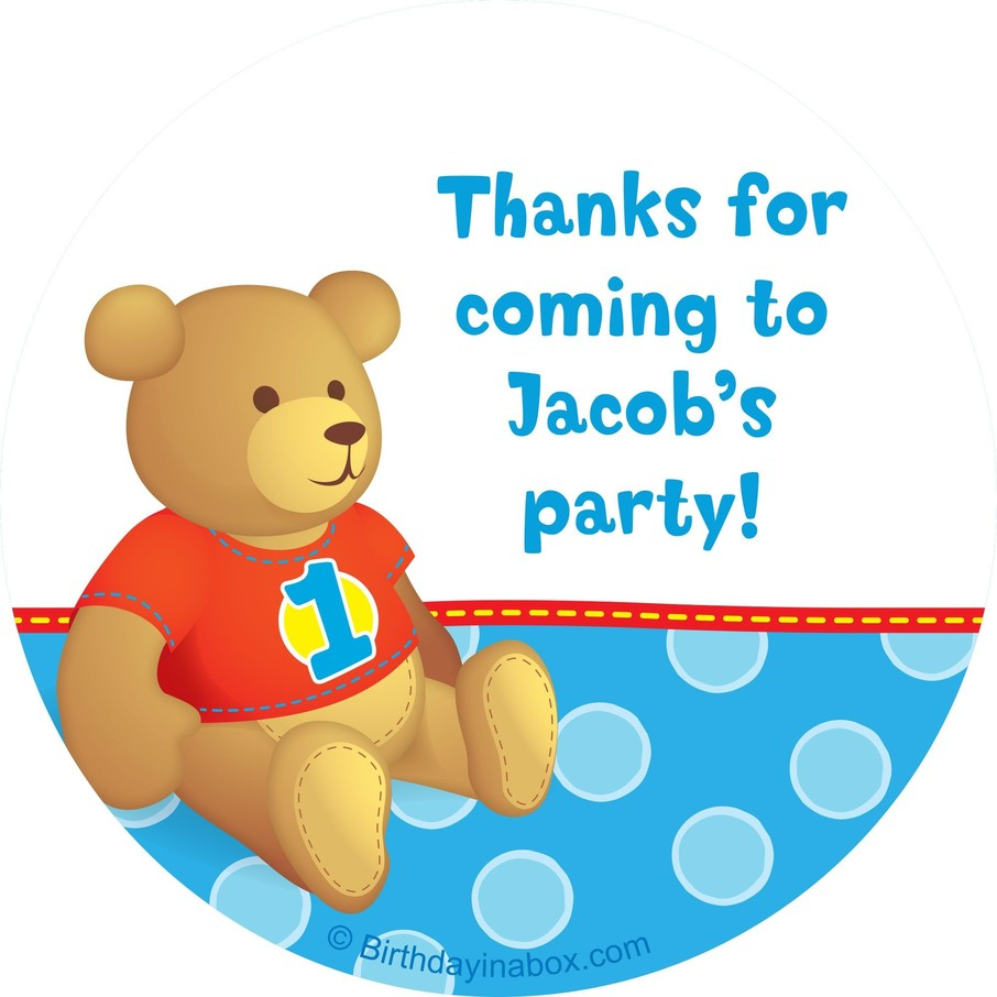 View larger image of 1st Birthday Bear Boy Personalized Sticker