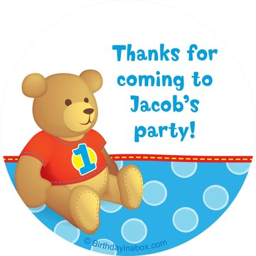 1st Birthday Bear Boy Personalized Sticker