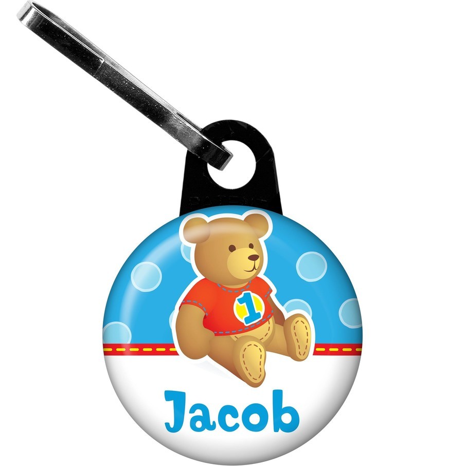View larger image of 1st Birthday Bear Boy Personalized Zipper Pull (each)