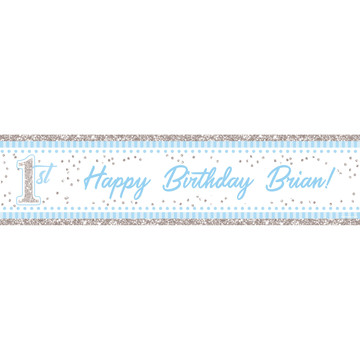 1st Birthday Blue Personalized Banner (Each)