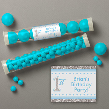 1st Birthday Blue Personalized Candy Tubes (12 Count)