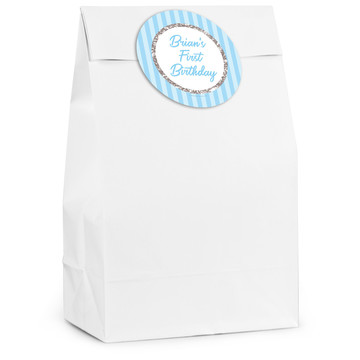 1st Birthday Blue Personalized Favor Bag (12 Pack)