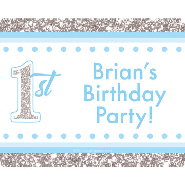 1st Birthday Blue Personalized Rectangular Stickers (Sheet of 15)