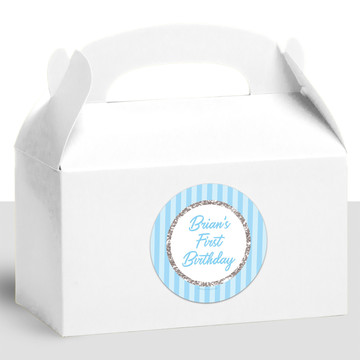 1st Birthday Blue Personalized Treat Favor Boxes (12 Count)