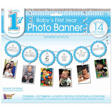 1st Birthday Blue Photo Banner