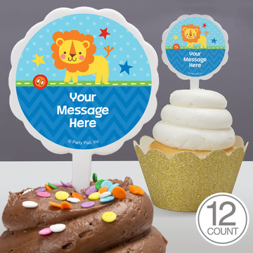 1st Birthday Boy Animal Personalized Cupcake Picks (12 Count)