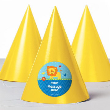 1st Birthday Boy Animal Personalized Party Hats (8 Count)
