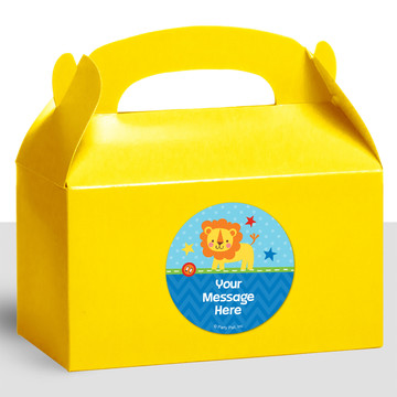 1st Birthday Boy Animal Personalized Treat Favor Boxes (12 Count)