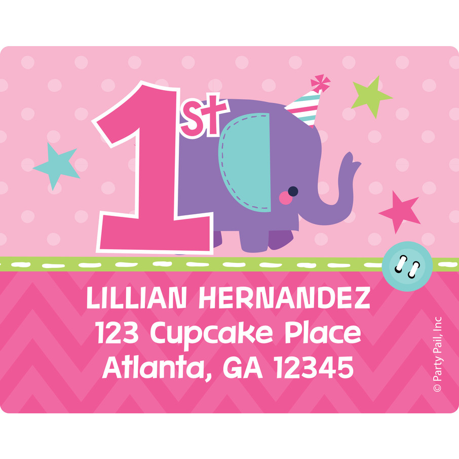 View larger image of 1st Birthday Girl Animal Personalized Address Labels (Sheet of 15)