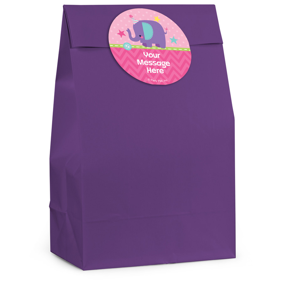 View larger image of 1st Birthday Girl Animal Personalized Favor Bag (12 Pack)