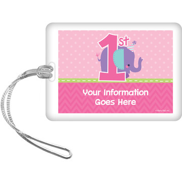 1st Birthday Girl Animal Personalized Luggage Tag (Each)