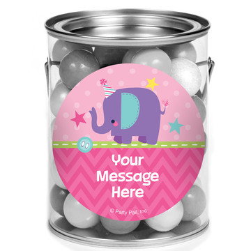 1st Birthday Girl Animal Personalized Mini Paint Cans (12 Count)