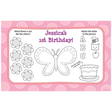 1st Birthday Girl Personalized Activity Mat (8 pack)