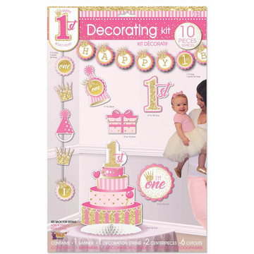1st Birthday Pink Decorating Kit (10)