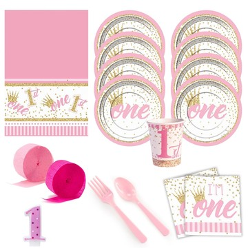 1st Birthday Pink Deluxe Tableware Kit (Serves 8)
