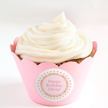 1st Birthday Pink Personalized Cupcake Wrappers (Set of 24)