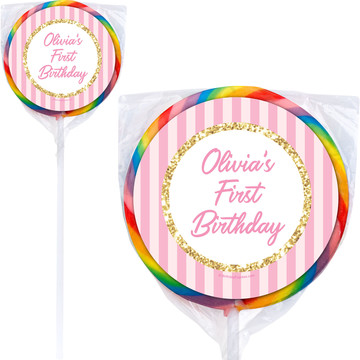 1st Birthday Pink Personalized Lollipops (12 Pack)
