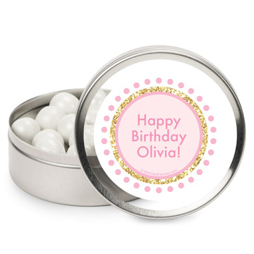 1st Birthday Pink Personalized Mint Tins (12 Pack)