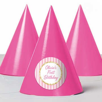 1st Birthday Pink Personalized Party Hats (8 Count)