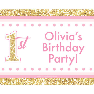 1st Birthday Pink Personalized Rectangular Stickers (Sheet of 15)