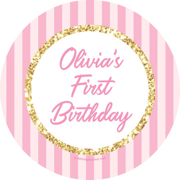 1st Birthday Pink Personalized Stickers (Sheet of 12)
