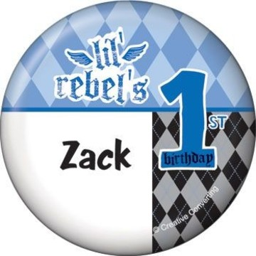 1st Birthday Rebel Personalized Button (each)